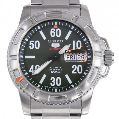 Seiko 5 Sports Automatic 24 Jewels Green Dial Stainless Steel Men Apos S Watch Srp215