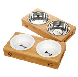 Pet Dog Cat Elevated Bowl/ Dog Cat Feeder Table Set/ Pet Bamboo Solid Wood Food and Water Bowls
