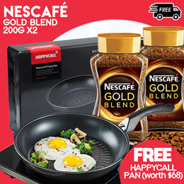 [NESTLÉ] NESCAFÉ®  GOLD BLEND Instant Soluble Coffee 200g x2 [FREE HAPPYCALL Pan (worth $68)]