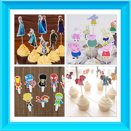 CUPCAKE 24PC SET/CAKE TOPPERS/WRAPPERS/STAR WARS/FROZEN/MY LITTLE PONY/SUPERHEROES/MINIONS/MICKEY/PEPPA PIGS/ELMO/JAKE AND THE NEVERLAND/WINNIE THE POOH/THE AVENGERS SUPERHERO/PRINCESS/HELLO KITTY