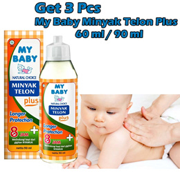 Get 3 Pcs My Baby paket minyak telon plus longer protection 60ml - 90ml