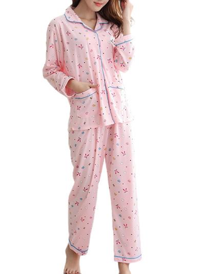 8a000a6ae Womens Pajama Set Sweet Cute Cartoon Pattern Turn Down Collar Long Sleeve  Home Suit