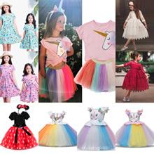[Size 90-160cm available!!] Kids girl dress/Unicorn Dinosaur cotton dresses/short sleeve Pajama