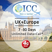 ◆ ICC◆【UK+Europe Sim Card· 7-35 Days】❤ 4G LTE/3G + Unlimited data/Data+Call ❤ EE local sim