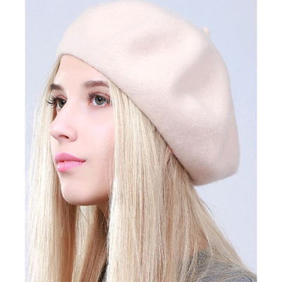 ea5be28d0e2 factory Women Sweet Solid Warm Wool Winter Beret French Artist Beanie Hat  Ski Cap Hat