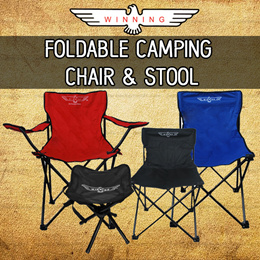 ★WINNING★ High Back FOLDING CAMPING CHAIR AND STOOL! DURABLE AND PORTABLE DESIGN!