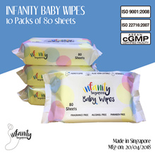 [Singtel] Infanity Baby Wipes 10 Pack x 80Sheets/ Made in Singapore / 99.9% Pure Water / Extra Soft