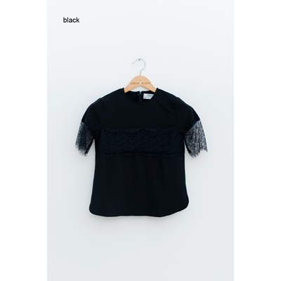 20. lace trimmed blouse - black - free