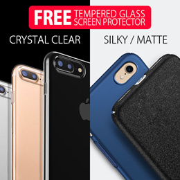 [ Free Tempered Glass Screen Protector ] [ Soft Crystal Clear / Silky or Matte Hard Case ] iPhone 7/7 Plus :: Super Thin / Lots of Color Choices