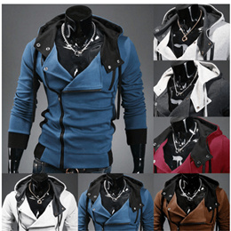 Male spring and autumn models hooded sweater jacket fashion cardigan teen Slim oblique zipper