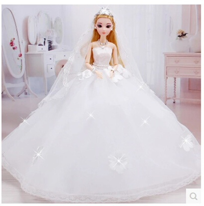 Barbie Wedding Dress.Barbie Wedding Dress Skirt Big Tail 3d Really Eye Children S Day Birthday Gifts Toys Bride Princess