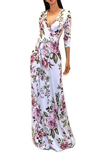 03e58bc1453 VIVICASTLE Womens Printed V-neck 3 4 Sleeve Faux Wrap Waist Tie Long Maxi