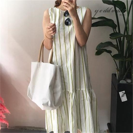 はいトト行き来するようにはいトトリンネンジュルワンピース プリントのワンピース/ 韓国ファッション