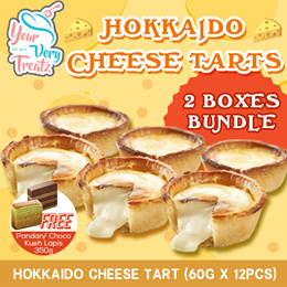 HOKKAIDO CHEESE TART PROMO! Bundle of 2x 360g(Total 12 Pieces)! FREE Chocolate or Pandan Kueh Lapis!