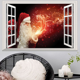 Christmas Large Removable 3D Santa Window Home Decor Xmas A Sticker Wall Decal