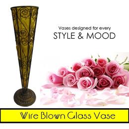 Wire Blown Glass Flower Vase