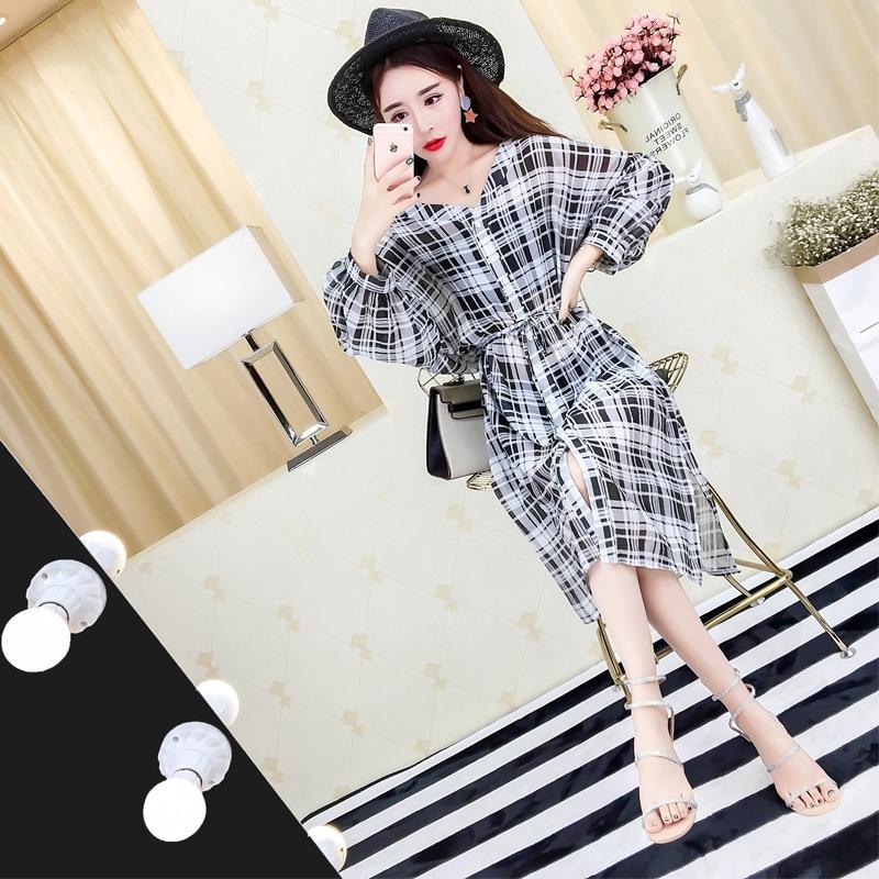2017早秋  韓国ファッション  レディース  ワンピース 流行 体型 カバー  長袖 可愛い  上質  SKZ171