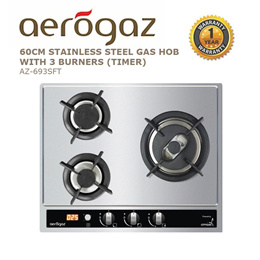 Aerogaz 60cm Stainless Steel Gas hob with 3 burners (Timer ) (AZ-693SFT )