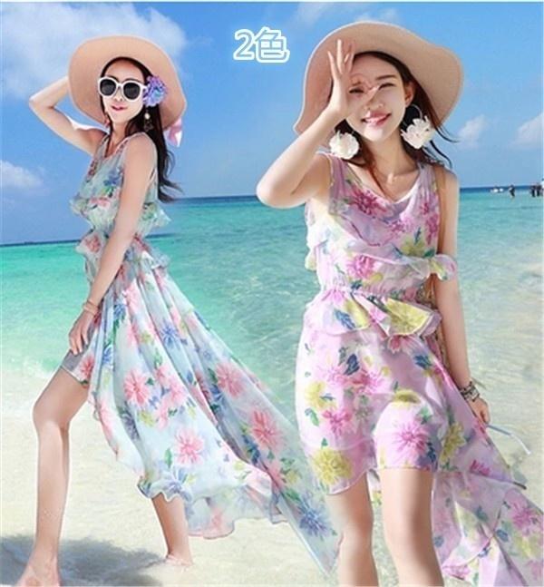 レディースワンピース ビーチワンピース 砂浜 シフォン プリント ファッション ハイセンス 着心地いい おしゃれ 夏 レディースワンピース