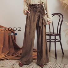 KODZ - Belted Velvet Wide Leg Pants-172918-Winter