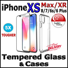 [SG]✱5X TOUGH✱ Tempered Glass Screen Protector / Case for iPhone XS Max● XS● XR● X● 8● 7● 6s● 6 Plus