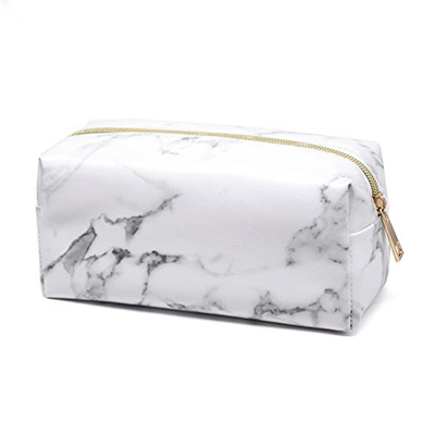 f35cdd8ad647 Joyful Marble Cosmetic Bag Gold Zipper Storage Bag Portable Ladies Travel  Square Makeup Brushes Bag(