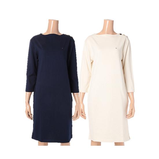 トミー・ヒルフィガーデニム女性ソリッドボトゥネクワンピースTUMR3OZE38A0 面ワンピース/ 韓国ファッション