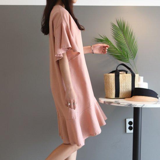 ガールズデイリープレーンフリルのワンピース 綿ワンピース/ 韓国ファッション