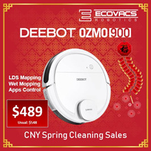 [LOCAL WARRANTY] Ecovacs OZMO900 Robot Vacuum Cleaner+SMART NAVI Mapping+OZMO Mopping+App Controls