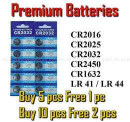 Premium Coin Battery / Batteries CR2032 CR2025 CR2016 CR2450 CR1632 LR41 LR44