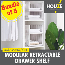 ONLINE EXCLUSIVE ♦ Bundle of 3 ♦ Modular Retractable Drawer Shelf ♦ Strong And Durable ♦ Stackable