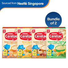 Bundle of 2[Nestle]Cerelac Rice Mixed Fruits/Rice Chicken/Wheat Honey Dates/Rice Mixed Veg 250g