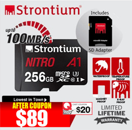 STRONTIUM microSD Card Nitro A1 / 256GB / NEW / Lifetime warranty