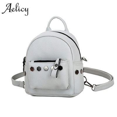 wholesale Aelicy New Fashion Mini Rivets Women Backpack Lady School Bags  for Girls Female Backpack F 2329e19606