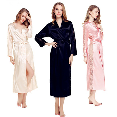 afa4c98e64 Women Autumn Long Robe Sexy Silk Satin Night Robe Lace Kimono Robe Solid  Bathrobe Long Sleeve Bath