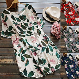 Elegant Women Floral Print Short Sleeve Casual Plus Size Dress