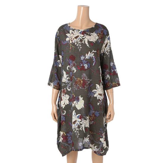 パパイヤロング捺染綿ワンピースCNHROP009B 面ワンピース/ 韓国ファッション