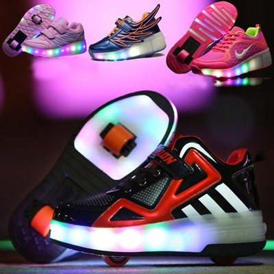Mother & Kids Boys Alert Kids Led Flash Double Wheels Roller Skate Shoes Children Colorful Glowing Roller Skates Sneakers For Male Female
