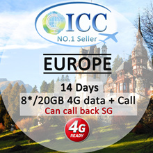 ◆ ICC◆【Europe Sim Card·14 Days】8GB/20GB 4GLTE Data+ Intl.Call (Including Call SG!)+Intl.Text