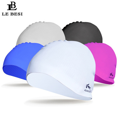 7d4e037b3 LEBESI 2018 New Man Women Swimming Cap Waterproof Adult Sports Swim Caps  Long Hair Particles Silicon