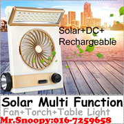 Multi Function Solar Powered Fan With 30 Led Table Light+Torch LightRechargeable Battery