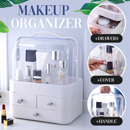 Dustproof Makeup Organizer with Handle Cover Cosmetic Storage Drawer Cabinet Portable Hand Carry