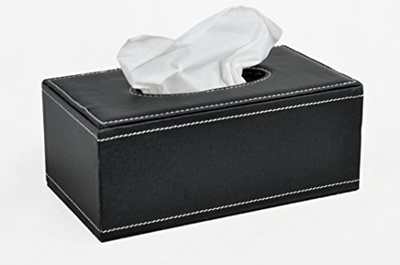 Black Pu Leather Rectangular Kleenex Tissue Box Cover Holder Tailor Made Size For Standard