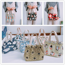 Drawstring harness / Handbag bag / Cotton linen bag / Japanese cute / Cartoon / Print / Canvas / Hand bag / Lunch bag