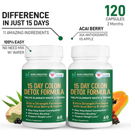 [1+1] No.1 Detox [120 Caps] Enzyme+Acai Berry+Papaya+Ginger ❤ Colon Cleansing ❤ Superfood ❤ Slimming