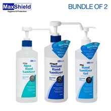 [1+1] Maxshield Hand Sanitizer [Free Qxpress delivery] // 2 x 500ml Aqua / Gel / Instant Hand Sanitizer // Kills 99.99% of germs on hands