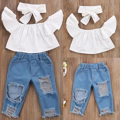 7d59562299e Stylish Toddler Kids Girls Off Shoulder Tops Denim Pants Jeans 3pcs Outfits  Set Clothes