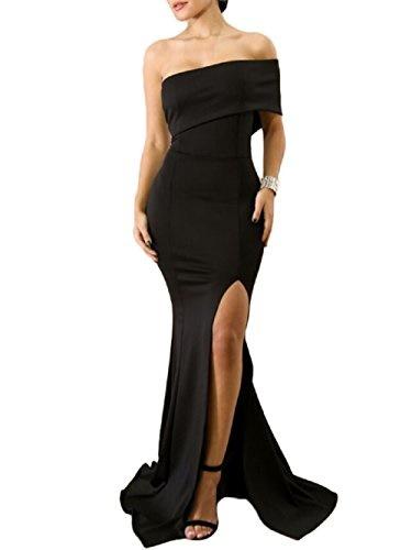 f5dd0a41c8e1 ZKESS Womens Sexy Gown Dresses Fishtail Side Split Party Long Dress Black L