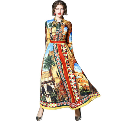 a528f492d616f Runway Designer Maxi Dress Women 2018 Robe Longue Femme Summer Dress Shirt  Work Casual Floral Print