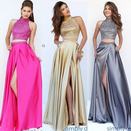 High Neck Two Piece Gown Women Fashion Elegant Dress Long Skirt + Crop Tops Sexy Prom Beauty Party C